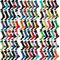 Men's Socks 6 10 Pairs Lot Pack Men Women Couples Lover Arrival Rhombus Animal Christmas Cartoon Fruit Food Dot Cotton Happy