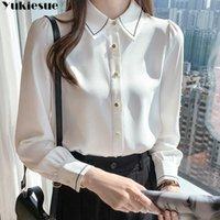 Plus size white blusas mujer elegantes summer Long sleeve Women's shirt Top blouses and shirts women tops chemise femme 210608