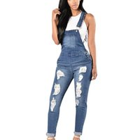 Spring Autumn Jean Overalls Ladies Loose Jeans Rompers Women Denim Jumpsuit Casual Hole Solid Pockets Strap Pants Women's & Capris