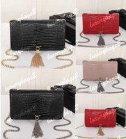 Luxury Designer handbag Women Purse Genuine Leather Kate Bags Crocodile Pattern Chain Shoulder Bag High Quality Tassel 23cm 16cm Total 4 Colors Wallet