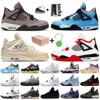Nike Air Jordan retro 4 Travis scott 4 4s OFF White SAIL Top-Qualität Herren Damen Basketballschuhe Court Purple Bred FIBA Neon Black Cat Turnschuhe Turnschuhe