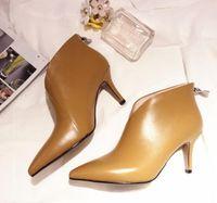 Xgravity V Design Toe pointus Baskets d'orteils élégants femme véritable cuir chaussures chaussures mode dames bottines courtes bottines