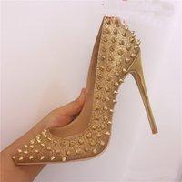 Fashion Summer Automne Femmes Pumping Chaussures Sliver Slitter Spikes Pointures Soupes pointues Toe High Talons Sandales Bottes de soirée 120mm Robe de soirée
