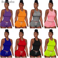 Donne Tracksuits Plus Size Joggers Suit Estate Yoga Abiti Tank Top + Shorts Due pezzi Set Sportswear DHL DHL Spedizione 835