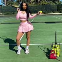 Women's Tracksuits Autumn Two Piece Set Women Sexy Nightclub Style Long Sleeve T-shirt+Skirt Shorts Sets Club Outfits Sports Streetwear Whol