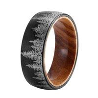 Ringe für Männer Beliebte Modelle Wolframstahl Ring 8mm Laser Wald Muster mit Massivholz Innenring Schwarzer Stahl 2 Farbe