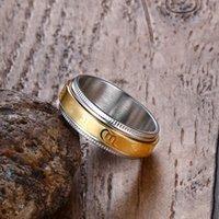 Men Rings Stainless Steel Tibetan Gold Rotating Blessing Ring Sanskrit Buddhist Mantra Lucky Jewelry
