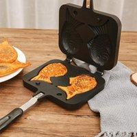 Moldes para hornear Taiyaki Japonés En forma de peces Bakeware Waffle Pan Maker Pancake 2 Moldes Doble acero inoxidable Frypan Home Herramientas de pastel