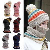 Hats, Scarves & Gloves Sets Winter Hat Women's Mask Balaclava Scarf For Girls Thick Warm Knitted Set