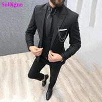 Sodigne Hommes Convient à 3 pièces Mince Fit Business Business Black Noble Tuxedos pour costume de mariée formelle Blazers pour hommes