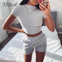 FSDA 2020 Летний Коротким Рукавом Урожай и Байкер Шорты Повседневные Женщины Установите серый Спорт Два Части Набор розовых Outfits1