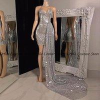 Prata Sparkly Sequined Vestido de Noite Backless Sexy Africano Preto Meninas Curtas Prom Vestidos 2021 com Long Train