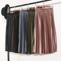 Outono e inverno alta cintura feminina saias femininas veludo plissado longo S9820