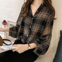 Outono Chic xadrez Camisas Mulheres Batwing Manga Chiffon Blusas Casuais Chemise Femme Tops Plus Size Tartan Blusas Mujer Mulheres
