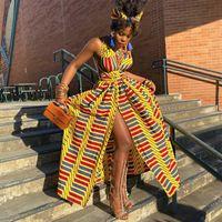 Vestido longo 2021 Moda Vestidos Africanos para Mulheres Dashiki Tradicional Impressão Bazin Lace Party Casual Bohemia Maxi Roupas