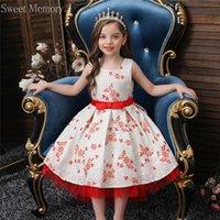 الفتاة فساتين الأزرق الوردي الأحمر الأبيض الأميرة ثوب 2021 زهرة فتاة الدانتيل التطريز حفل زفاف اللباس الحلو الذاكرة الاطفال رداء عيد ميلاد