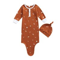 Pajamas 2pcs Infant Baby Girls Boys Sleeping Bag+Hats Outfit 0-1Years Sun Moon Printing Long Sleeve Blanket Sleepwear