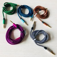 3.5mm Auxiliary AUX Extension Audio Cable Unbroken Metal Fabric Braided Male Stereo cord 150cm for iphone Samsung MP3 Speaker Tablet PC