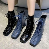 Boots Britishs Vintage Style Fall &Spring Ankle Woman Short Square Toe Women Motorcycle Block Heel Black Blue