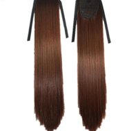 """107 Synthetic Ponytail Long Straight Hair 16"""" 22"""" Clip Ponytail Hair Extension Blonde Brown Ombre Hair Tail With Drawstring"""