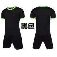Men Adult soccer jersey short sleeve soccer shirts football uniforms shirt+shorts --referee-4