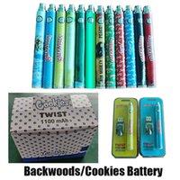 Backwoods Cookies Runtz Batterie Blister Kit Bottom Twist 1100mAh Variablenspannung Vape Pen 24 Stück A Display Box für 510 Gewinde dicke Ölkassettenwagen