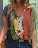 Lose T-shirts Frauen Jumper Kurzarm V-Ausschnitt Tops Frau Pullover Weibliche Cartoon Sexy Mode Mädchen Tuch Unterhit AC0576 Damen T-Shir