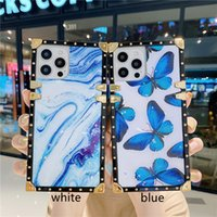 Shimmering Marble Case for iPhone 13 12 Mini 11 Pro Max XR XS 6s 7 8 Plus Full Protective Soft Square Plating Shiny Butterfly Back Cover