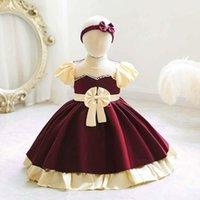 Girl's Dresses Fashion Short-sleeve Kids Christmas Baby Girls 1st Birthday Party Princess Dress For Wedding 0-3 Years
