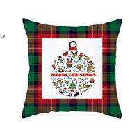 Cuscino natalizio Plaid Plaid Stampato Throw Pillowcase Cuscini Xmas Cuscini Cover Cascina Cuscino Copertura Home Decor OWD10573