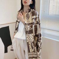 Scarves Fashion Double-sided Printed Pashmina Bandana Winter Women's Thick Cashmere Scarf Blanket Designer Foulard Wholesale Bufanda