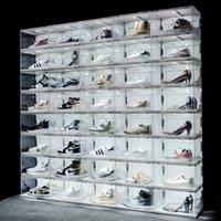 جديد التحكم في الصوت LED ضوء الأحذية واضحة مربع أحذية رياضية تخزين المضادة للأكسدة منظم الحذاء جدار مجموعة عرض الرف
