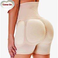 섹시한 큰 엉덩이 엉덩이 증강기 패딩 가짜 가짜 엉덩이 리프터 바디 셰이퍼가있는 높은 허리 트레이너 슬리밍 배가 조절 팬티 S-6XL
