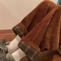 Qweek Brown Worduroy брюки Женщины Высокая талия Мягкая Девушка Kawaii Корейский Стиль Бежевые Широкие Брюки Ноги Женщины Плюс Размер