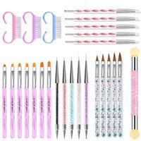 Çoklu UV Jel Akrilik Nail Art Fırça Aracı Set Fırçalar Manikür Çizim Kalem Oluşturucu Düz Astar Çivi Tasarım Dekorasyon Boyama Kalem