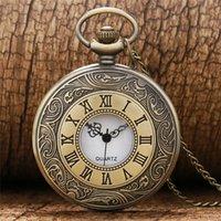 Retro Vintage Bronze Unisex Analog Quartz Pocket Watch Roman Number Case Steampunk Neckalce Chain Gift Collectable