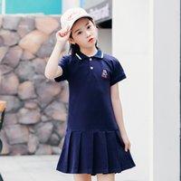 Tongxia 2021 Petticoat Новый отворот с коротким рукавом розовая принцесса юбка плиссированные корейские девочки платье