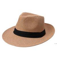 해변 밀짚 모자 파티 용품 야외 휴가 모자 패션 유니섹스 모자 여름 태양 잔디 머리가 Fedora Trilby Wide Brim Cap HWE6143