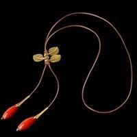 ميجيا العرقية اليدوية السيراميك الزجاج الخرزة الفاكهة القديمة البرونزية اللون الريش يترك سترة قلادة المرأة الأزياء التبعي