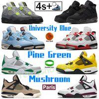 Black Cat University Blue 4 Basketballschuhe 4s Männer Frauen Sporttrainer Feuer Rot Kiefer Grün Metallic Orange Tour Gelb SE Neon Sneakers Herren Chaussures