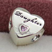 Brandello del pendente di fascino dell'amore della figlia d'argento con il rosa CZ adatta i braccialetti europei dei monili di stile Pandora PS2042