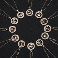 CR jewelry Dogeared Necklace With Card Rose Gold Round Hollow Animal Version 12 Constellation Necklaces Clavicle Chain