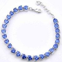 Luksusowy projektant biżuteria Luckyshine Elegancki w kształcie serca Blue Topaz Gemstone Plated Silver Kobiety Moda Akcesoria CZ Cyrkon Bransoletki Bransoletki