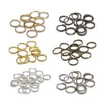200 stks / lote 5 6 7 8 10 14 mm de salto abierto de doble bucles dorados de color dorado con conectores de anillos para joyería