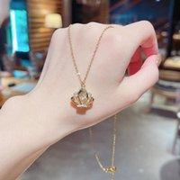 Pendant Necklaces Crown Zircon Micro Inlaid Titanium Steel Necklace Butterfly For Women Goth CN(Origin)