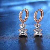 Hoop & Huggie Wholesale 6 Pairs Of Cute Bear Inlaid Small Zircon Pendant Earrings Shiny Crystal Animal Ladies Jewelry Gifts