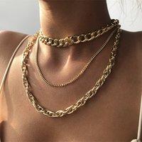 النساء القلائد مجوهرات 3 قطعة / المجموعة العصرية أزياء الذهب والفضة اللون سبيكة هندسية رابط سلسلة القلائد الشرير الهيب هوب القلائد 3480 Q2