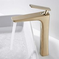 Basin Faucet Brush Gold Solid Brass Sink Mixer Tap And Cold ...
