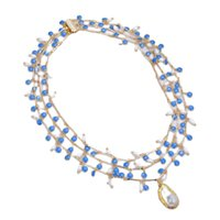 GuaiGuai Jewelry White Rice Natural Pearl Blue Enamel Chain Necklace Keshi Baroque Pearl Pendant Handmade For Women Real Gems Stone Lady Fashion Jewellery