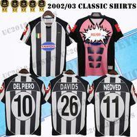 2002 2003 Retro del Piero Soccer Jersey 02 03 زيدان Nedved Zambrotta Trezeguet Maillot القديم ديفيدز أقدم قمصان كرة القدم الكلاسيكية